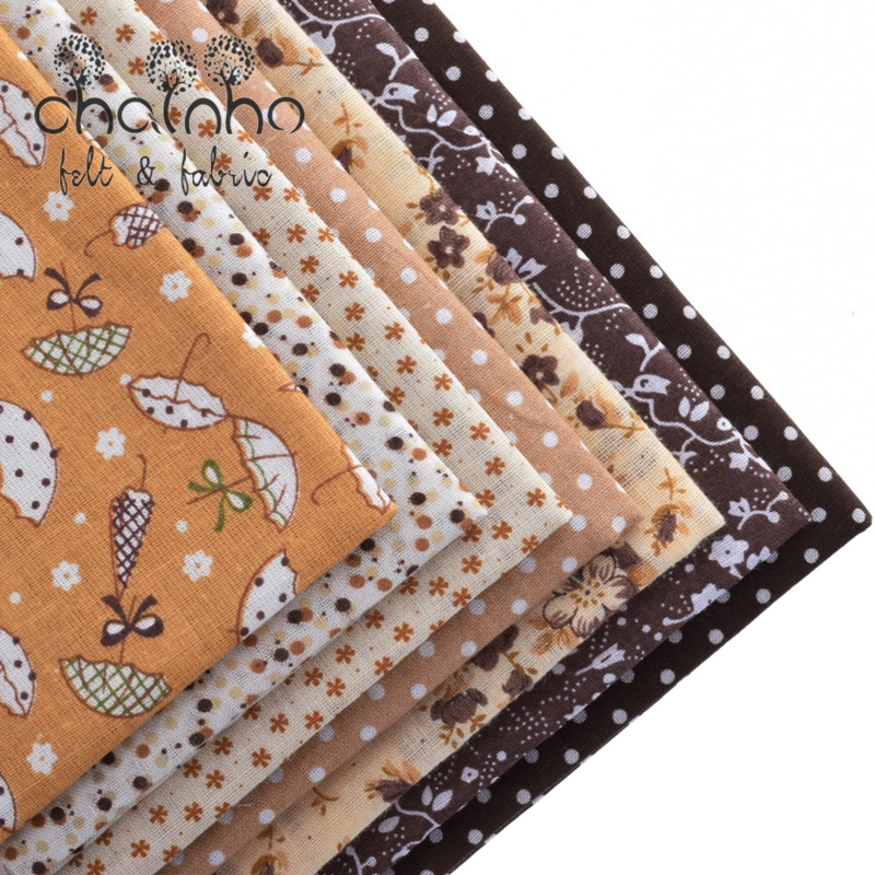 Tunn bomullstyg för patchwork Quilting Sy Tilda Fat Quarters Cloth Scrapbooking 50 * 50CM 7 Designs Mixed Coffee Color