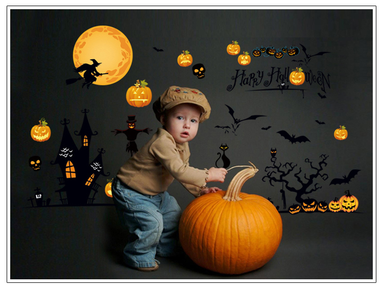 Lager Size 60*90cm Removable Creative PVC Halloween Party decorations for kids home decals