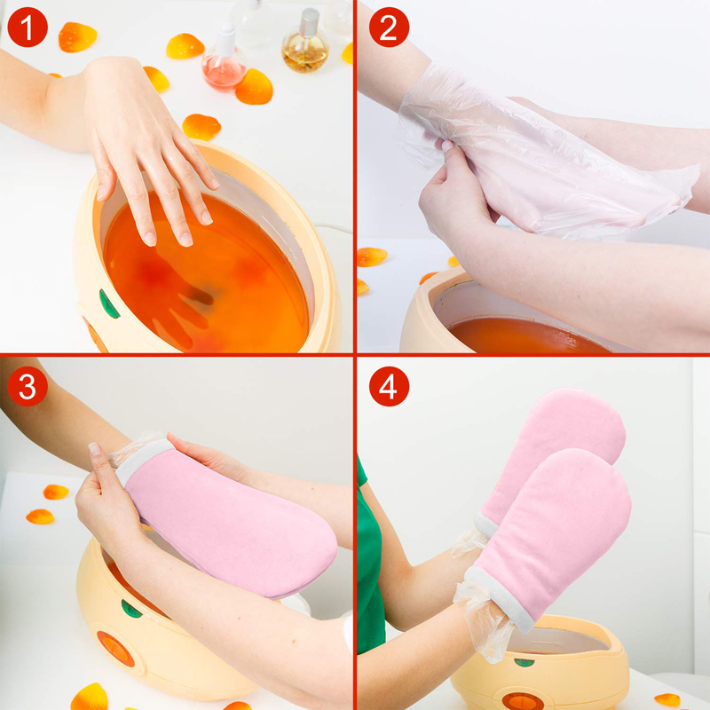 Paraffin Wax Heater Machine Bath For Hand Foot Heat Therapy With Mitts and Bootie and 350G Heating Wax