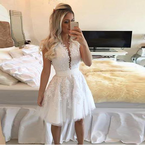 Alexzendra White Knee Length   Prom     Dresses   2019 Illusion Back Perals Short Party   Dresses   Plus Size
