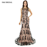 H S BRIDAL Black Lace Mermaid Women Formal Evening Gowns Fitted Elegant Evening Prom Dresses
