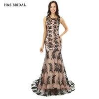 H & S BRIDAL Zwart Kant Mermaid Vrouwen Formele Avondjurken Voorzien Elegant Avond Prom Jurken
