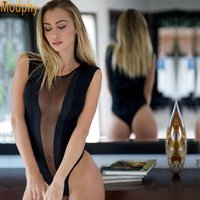 2017 New Women Sexy Mesh See Through Elastic Rayon HL Bandage Bodysuits One Piece Sets Summer
