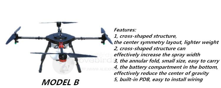 EFT DIY 10L Agriculture spray quadcopter drone 1300mm annular folding pure carbon fiber frame Model A and Model B