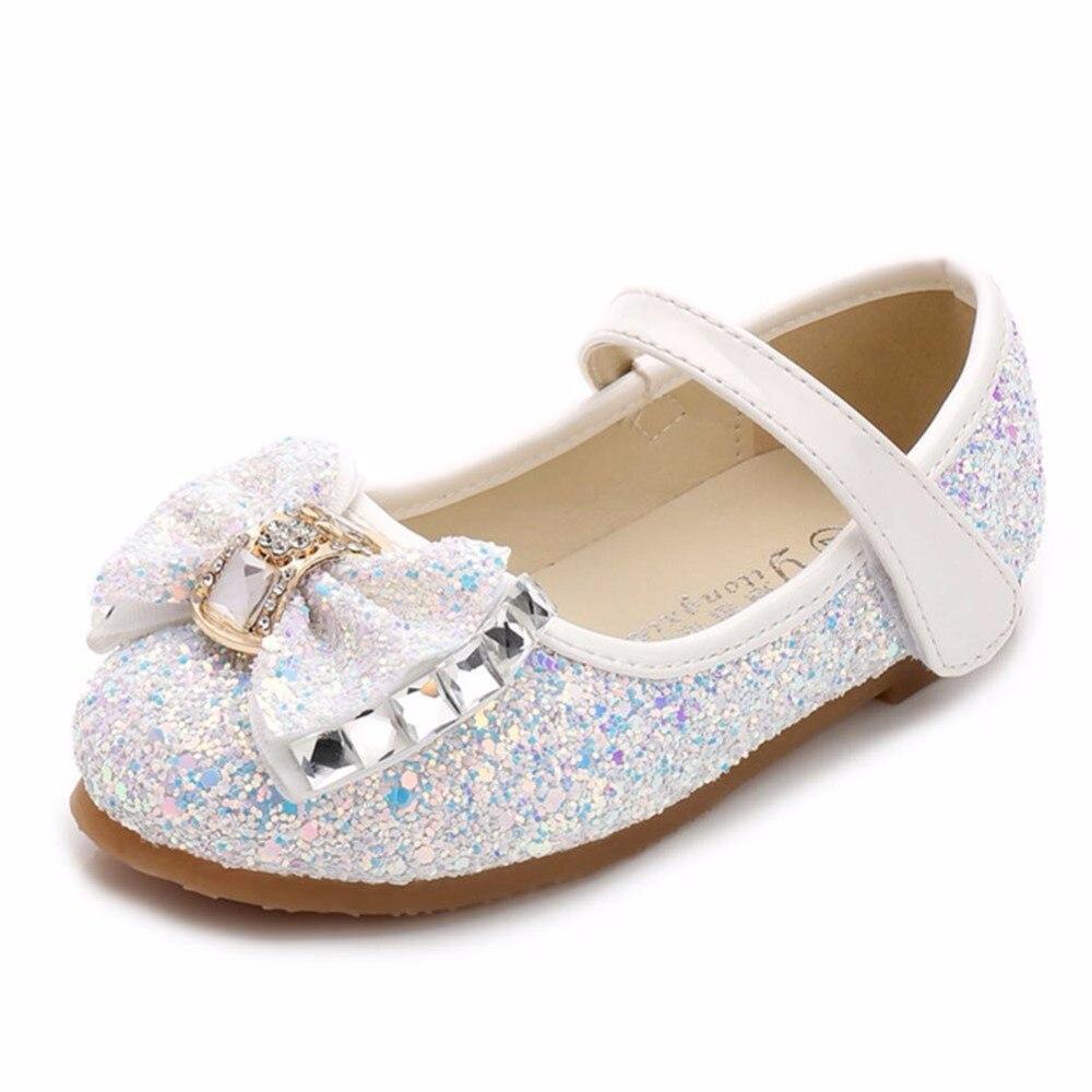 Little Girls Dress Up Shoes Balet Taniec Flat Casual Front Glitter - Obuwie dziecięce - Zdjęcie 1