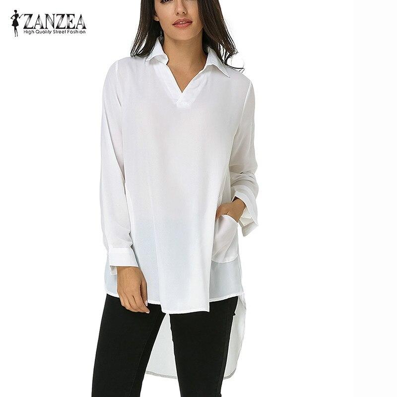 ZANZEA Women Loose Solid Long Sleeve Irregular Hem Pockets V Neck Chiffon Summer Blouses Shirts Female Long Tops Plus Size 2018