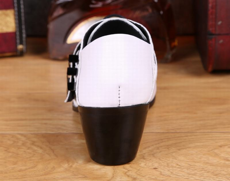 Blanc Richelieus Mode Hommes Pointu Véritable De Robe White Soirée Main Chaussures Cuir Haute Bout Talons En La Mariage À Boucle Avec rPvCrn