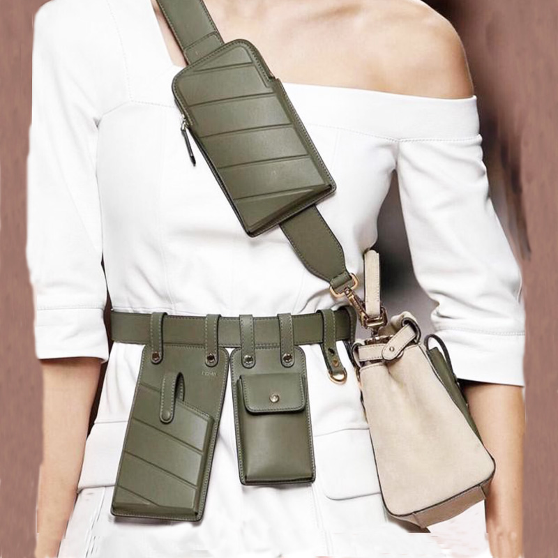 Qulity Leather Fanny Pack for Woman Waist Bag Belt Fashion Punk Belt Phone Waist Pack Girls Bum Chest Crossbody Bag Female Purse