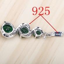 Green Stones White Zircon Women Silver 925 Jewelry Sets Earrings/Pendant/Necklace/Rings/Bracelets For Bridal Set Free Box