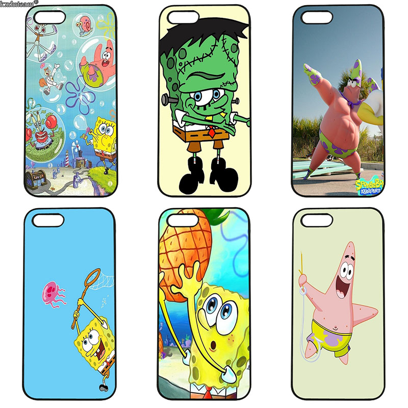 Cute Cartoon Patrick Star Squidward Spongebob Phone Case Cover for iphone 8 7 6 6S Plus X 5S 5C 5 SE 4 4S iPod Touch 4 5 6 Shell