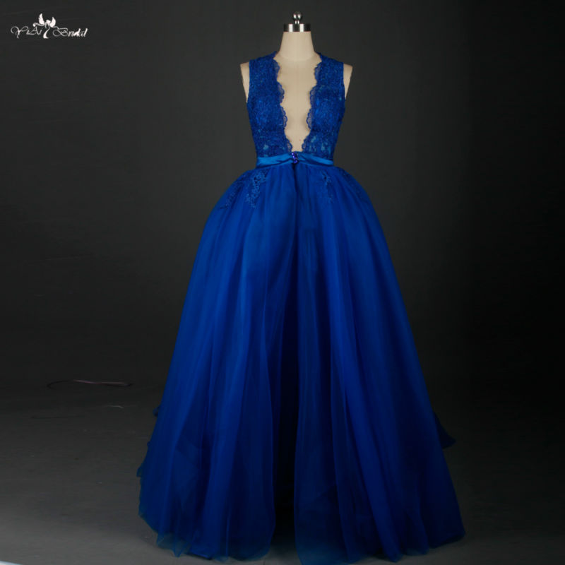 Rse642 See Through Sheer Evening Gown Royal Blue Mermaid Party