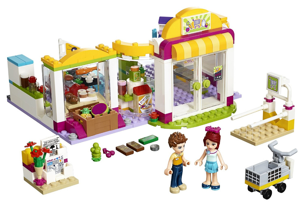 BELA Friends Series Heartlake Supermarket Building Blocks Classic For Girl Kids Model Toys Minifigures Marvel Compatible