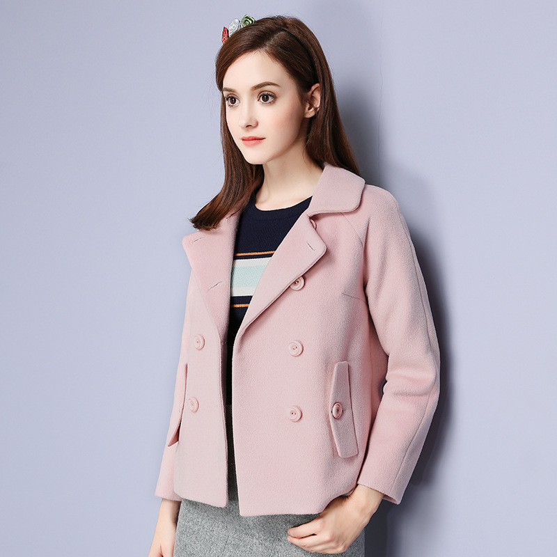 Women's Fashional 2016 Winter Brand New Sweety Wide-waisted Lapel Double-breasted Casual Solid Pink Short Woolen Coat