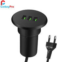 CinkeyPro 3 Ports USB Charger Inside The Table Dock 5V 3A Fast Charging Mobile Phone Universal