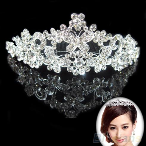 2016 Wedding Bridal Party Butterfly font b Tiara b font Crystal Rhinestone font b Jewelry b