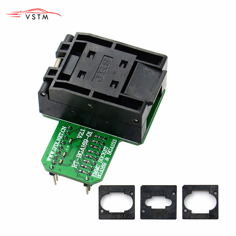 <font><b>RT</b></font>-<font><b>BGA169</b></font>-<font><b>01</b></font> V2.2 EMMC Seat EMCP153 EMCP169 Socket for RT809H Programmer 11.5*13mm Add more 3 pcs Matrix image
