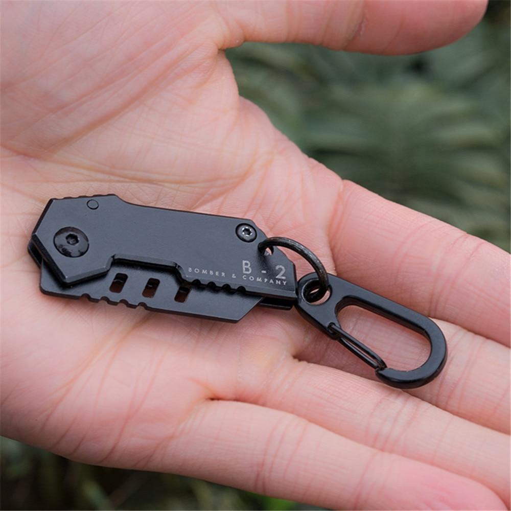 B2 Bomber Nano Blade mini knife Swiss military knife bearing steel retired knife folding keychain Camping Outdoor Knife Tools