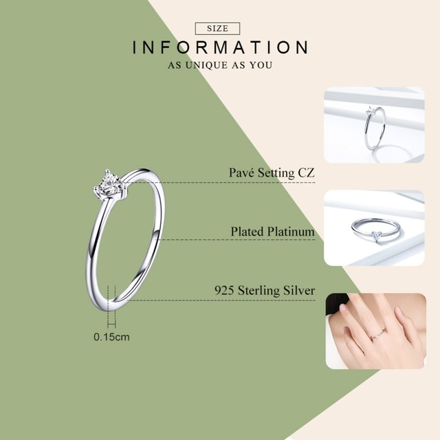 BAMOER HOT SALE 925 Sterling Silver Heart Clear CZ Simple Finger Rings for Women Engagement Wedding Statement Jewelry  SCR498 1