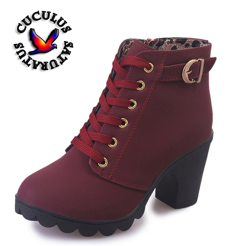 Cuculus New Spring Winter Women Boots High Quality Solid Lace-up European Ladies shoes PU Fashion high heels Boots 656 high quality genuine leather women shoes spring and autumn high heels women boots hollow out lace ladies fashion boots