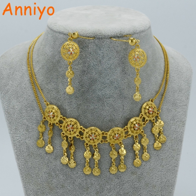 Anniyo Middle East Necklace Earrings Sets Mixed Gold Color Arab Jewelry Birthday Party Gifts Oman