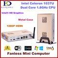 Fanless Thin Client PC, Mini Computador com Processador Intel Celeron 1037U 1.8 Ghz, 2 GB de RAM, 32 GB SSD, WIFI, Vídeo em Tela cheia