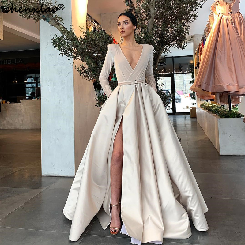 Vestido De Festa Beige Evening Dresses Long V-Neck Full Sleeves Satin A-Line Split Sexy Special Occasion Formal Evening Dress