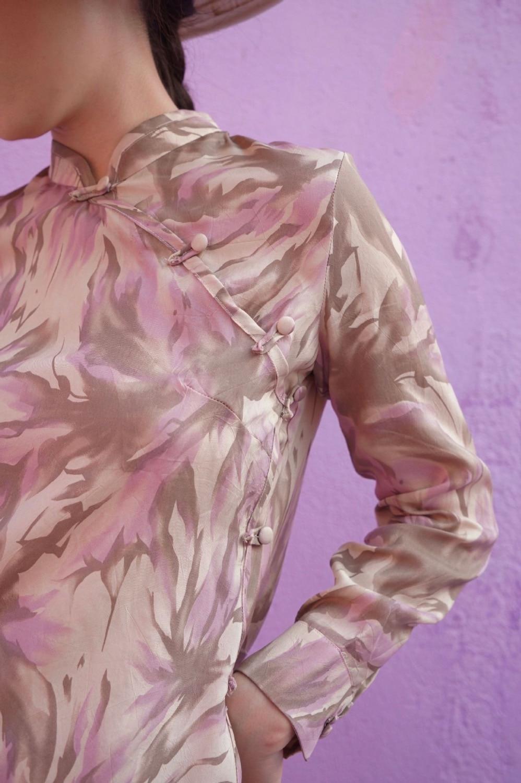Haute Grâce Motif mollet Vintage Été Gloria Mi Printemps Cheongsam Robe Et Conception 2019 Beige Imprimer Originale Couture Fleurs Floral YxaqHnR