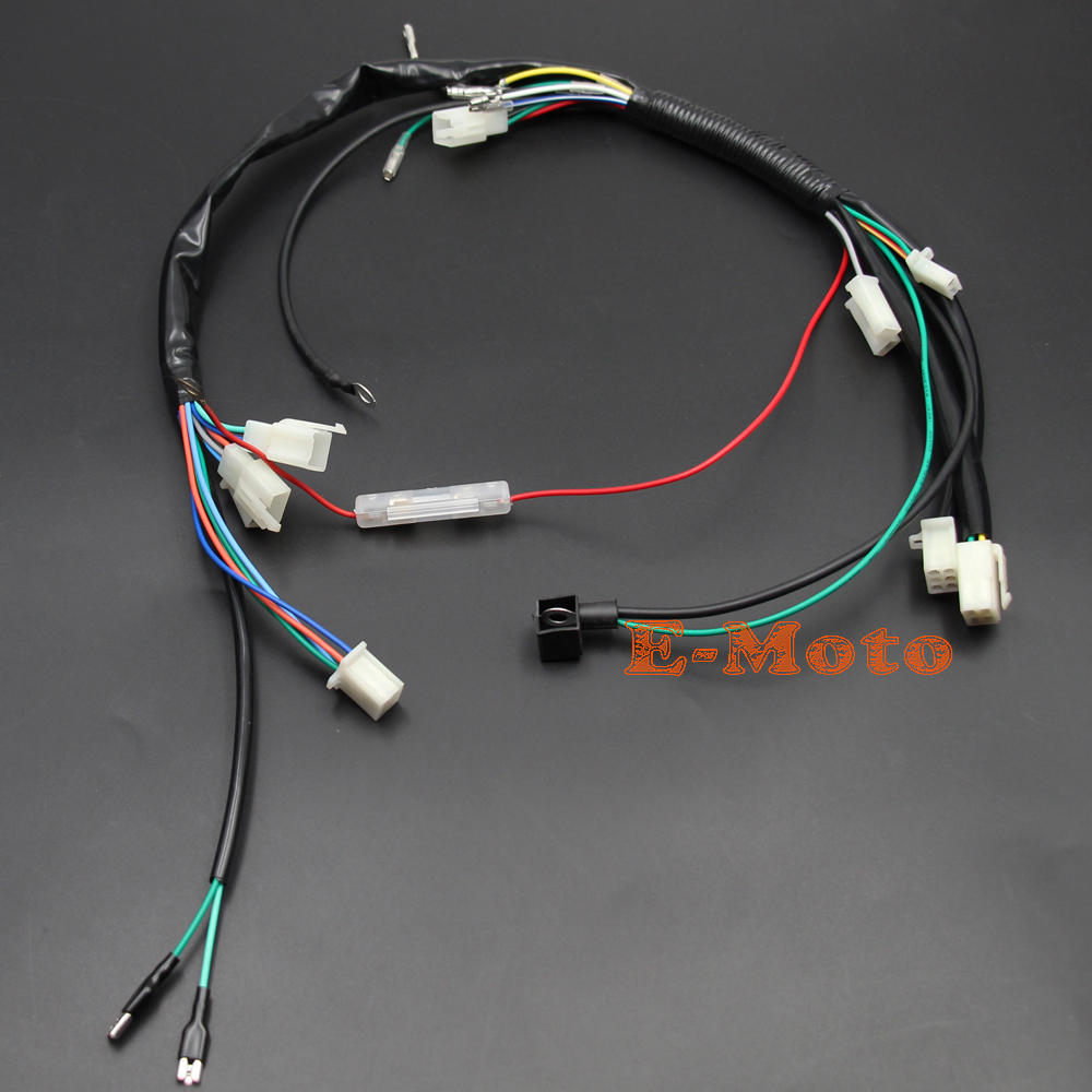 US $10 05 13% OFF|Kick Start Engine Wiring Harness Loom + Light Wire For 50  70 90 110 125cc PIT PRO Trail Dirt Bike NEW E Moto-in Motorbike Ingition