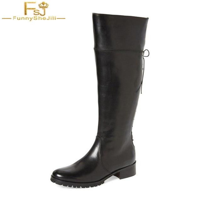 cba3e2b4a16 US $130.5 10% OFF|FSJ Fashion Knee High Black Boot Round Toe Zipper High  Kittten Heels Back Lace Up Riding Waterproof Boots For Women Shoe Zapato  -in ...