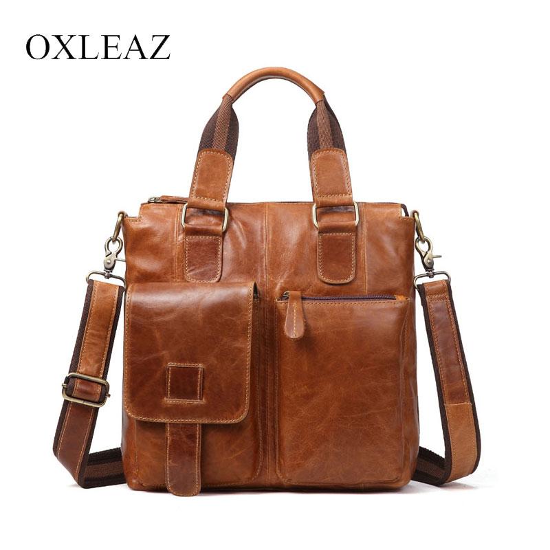 все цены на OXLEAZ Male Oil Wax Genuine Leather Small Hand Bag Vintage Cowhide Mens Messenger Shoulder Bag Top Handle Crossbody Bags for Men онлайн