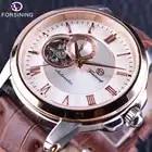 Forsining Япония роскошное движение чехол цвета розового золота водонепроницаемый коричневый оригинальный ремень мужские часы лучший бренд кл...