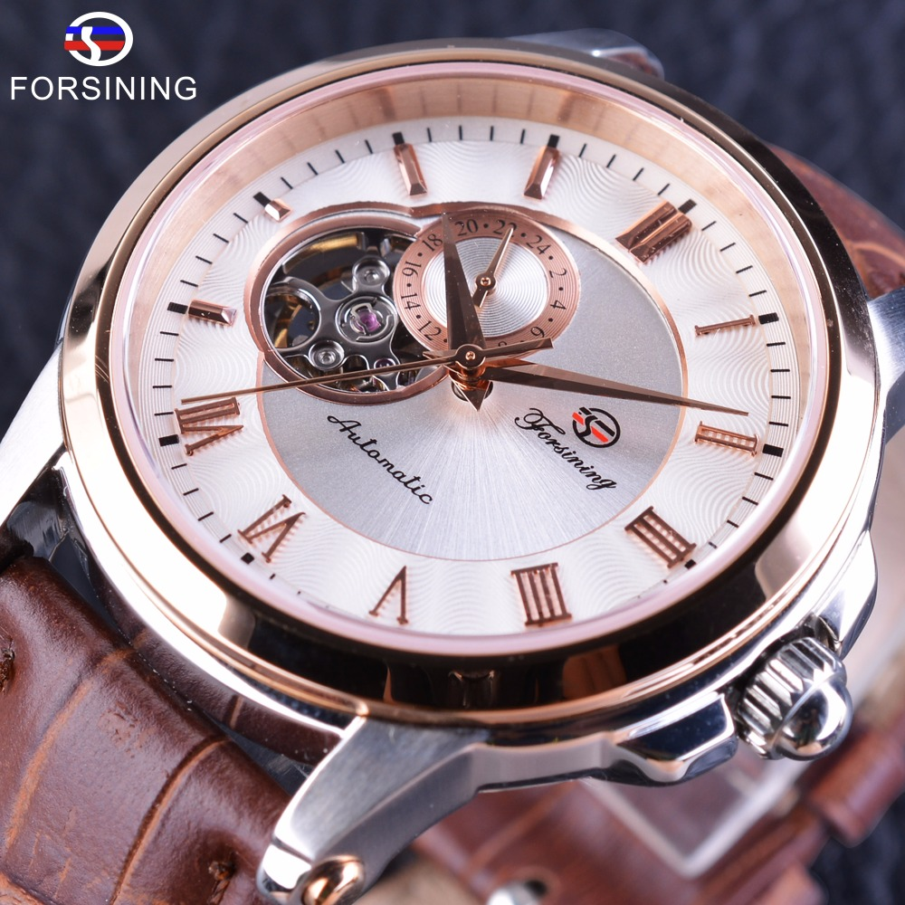 Forsining Japan Luxury Movement Rose Golden Case Waterproof Brown Genuine Belt Mens Watch Top Brand Luxury Automatic Wrist Watch forsining 3d skeleton twisting design golden movement inside transparent case mens watches top brand luxury automatic watches