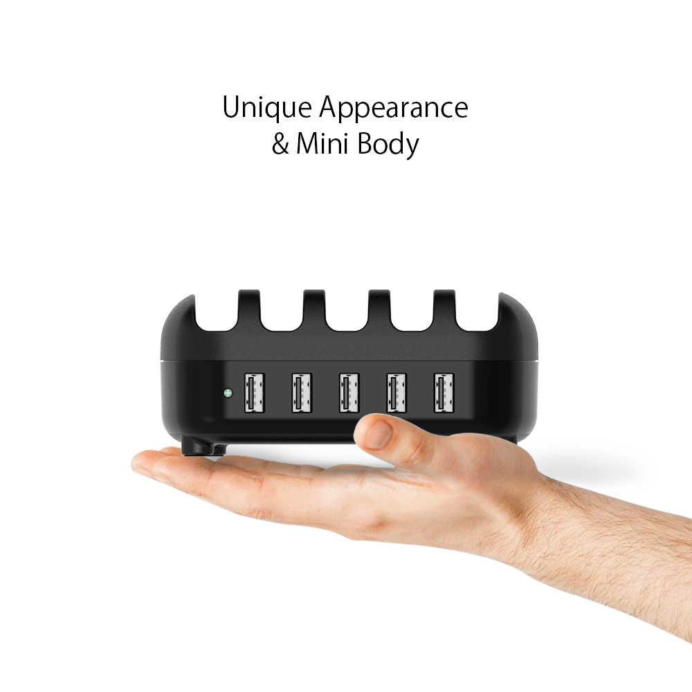 Ntonpower 5 Port USB Charger Desktop Charger Stasiun 5V 2.4A Pengisian untuk Ponsel dan Tablet dengan Ponsel Pemegang