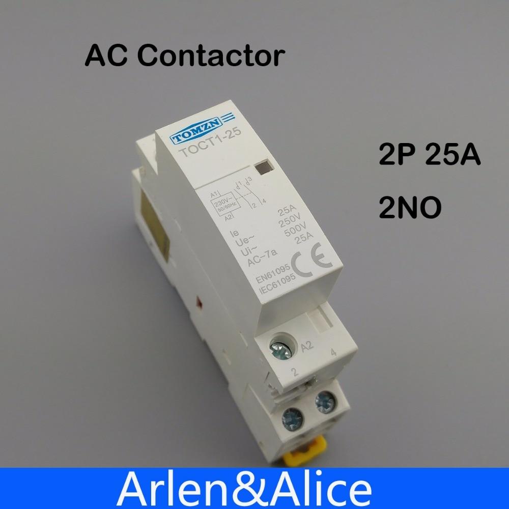 TOCT1 2 P 25A 220 V/230 V 50/60Hz Din ac contactor Modular 2NO