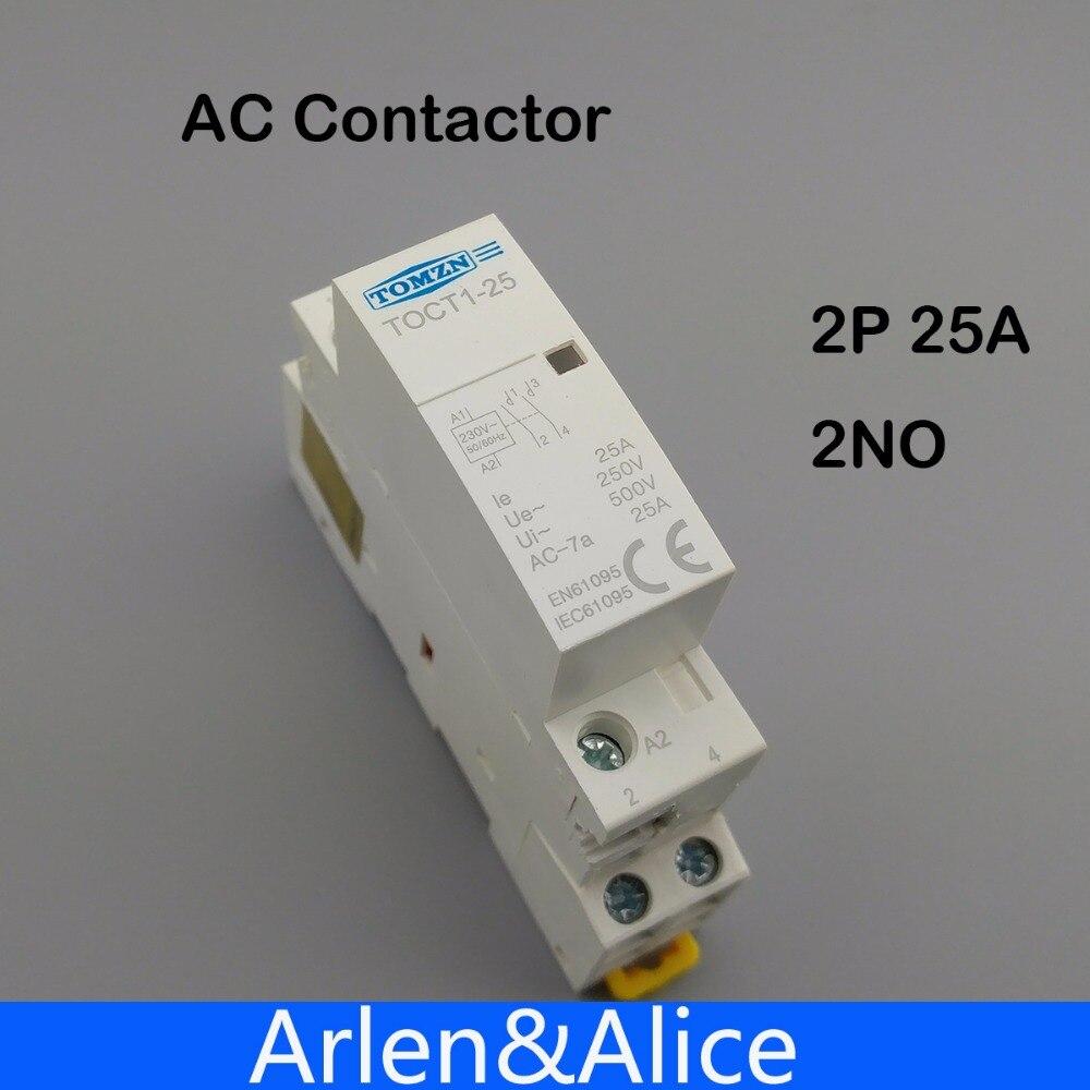 TOCT1 2 P 25A 220 V/230 V 50/60Hz, carril Din hogar ac contactor Modular 2NO
