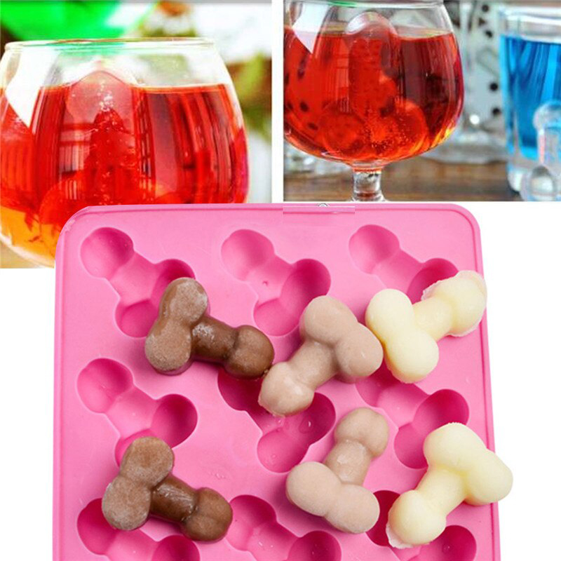 New Arrival 1pc Funny Sexy Penis Silicone Cake Mold 12 Holes Ice Cube Tray DIY Silicone Chocolate Molds Fondant Mold
