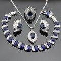 Conjuntos de Jóias de Cor prata Para As Mulheres Colar de Pingente Brincos Pulseira Anéis Azul Criado Sapphire Branco Topázio Caixa de Presente Livre