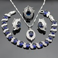 Silver Color Jewelry Sets For Women Necklace Pendant Earrings Bracelet Rings Blue Created Sapphire White Topaz  Free Gift Box