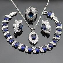 Color de plata de La Joyería Para Las Mujeres Collar Colgante Pendientes Anillos Pulsera Azul Creado Zafiro Topacio Blanco Caja de Regalo Libre