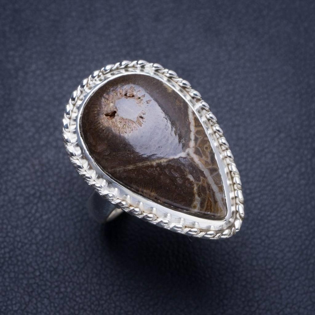 Chrysanthème naturel jaspe fait à la main Unique 925 bague en argent Sterling 6 Y4282