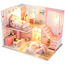 CUTEBEE DIY Doll House Wooden Doll Houses Miniature dollhouse Furniture Kit Toys for children Christmas Gift  M22