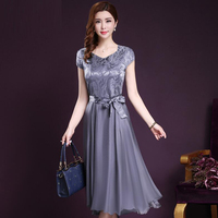 2017 New Fashion Women Summer Clothing Silk Elegant Dress Short Sleeve Bowtie Wedding Party Dresses Vestidos