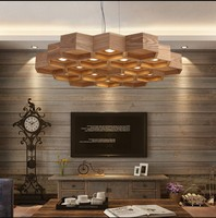 Solid Wooden 1 HEAD Cellular Personality Designer Wooden Pendant Lights Nordic Dining Room Bar Simple Wooden