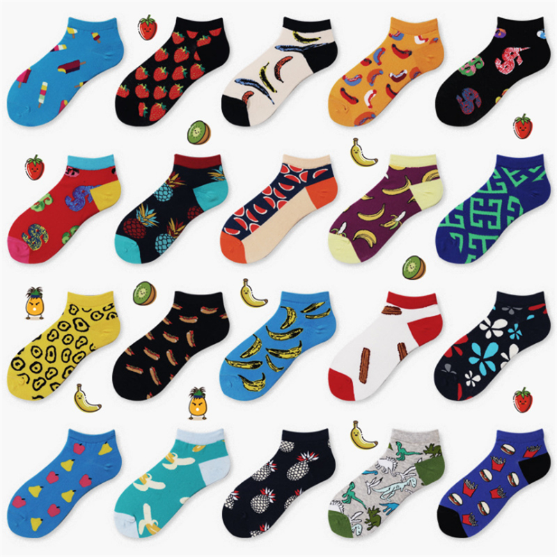 Moda Socmark Brand Summer Trendy Happy   Socks   Men Cotton Boat Man   Socks   Interest Funny Originality Harajuku ankle   Sock   Food Fruit