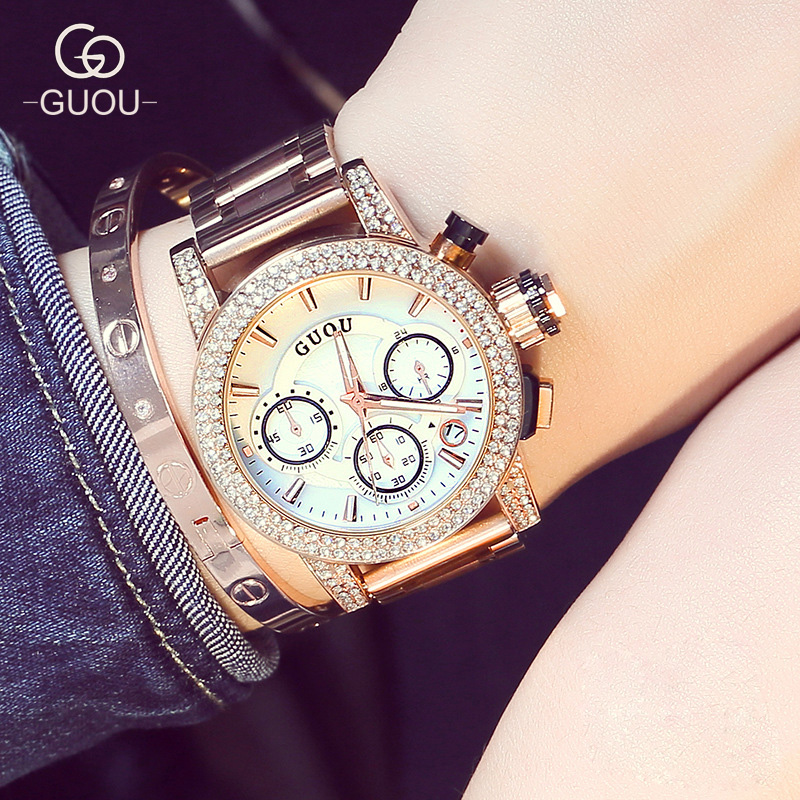 GUOU Luxury High Quality Brand Crystal Bling Rose Gold Steel Quartz Wrist Watch Wristwatches for Women Female 8808 GU003 100% new luxury rose gold bling crystal leather quartz wristwatches wrist watch clock for men male women ladies couple