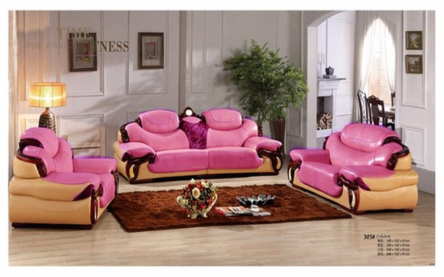 Online Shop antique European leather sofa set living room sofa made ...