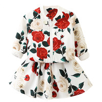2018 Spring Girls Clothing Set Kids Flowers Suits Toddler Long Sleeve Jackets Skirt Cute Suit Children