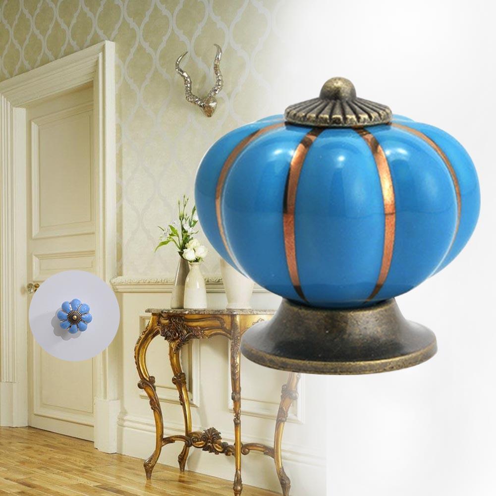 Blue 1x Vintage Pumpkin Door Knob Ceramic Door Knobs Cabinet Drawer ...