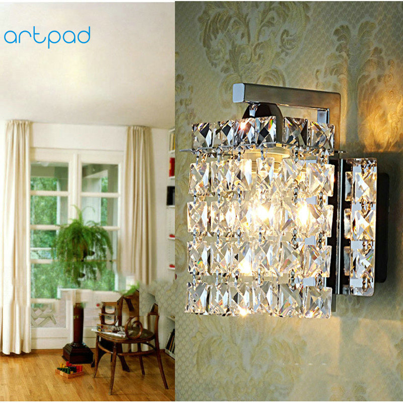 Artpad Modern LED K9 Crystal Wall Lamp AC90V-260V Bathroom Mirror Light For Living Room Bedroom Hallway Aisle Lighting modern simple wavy acryl aluminum led wall lamp for bathroom mirror light bedroom living room tv background aisle 48 58cm 1337