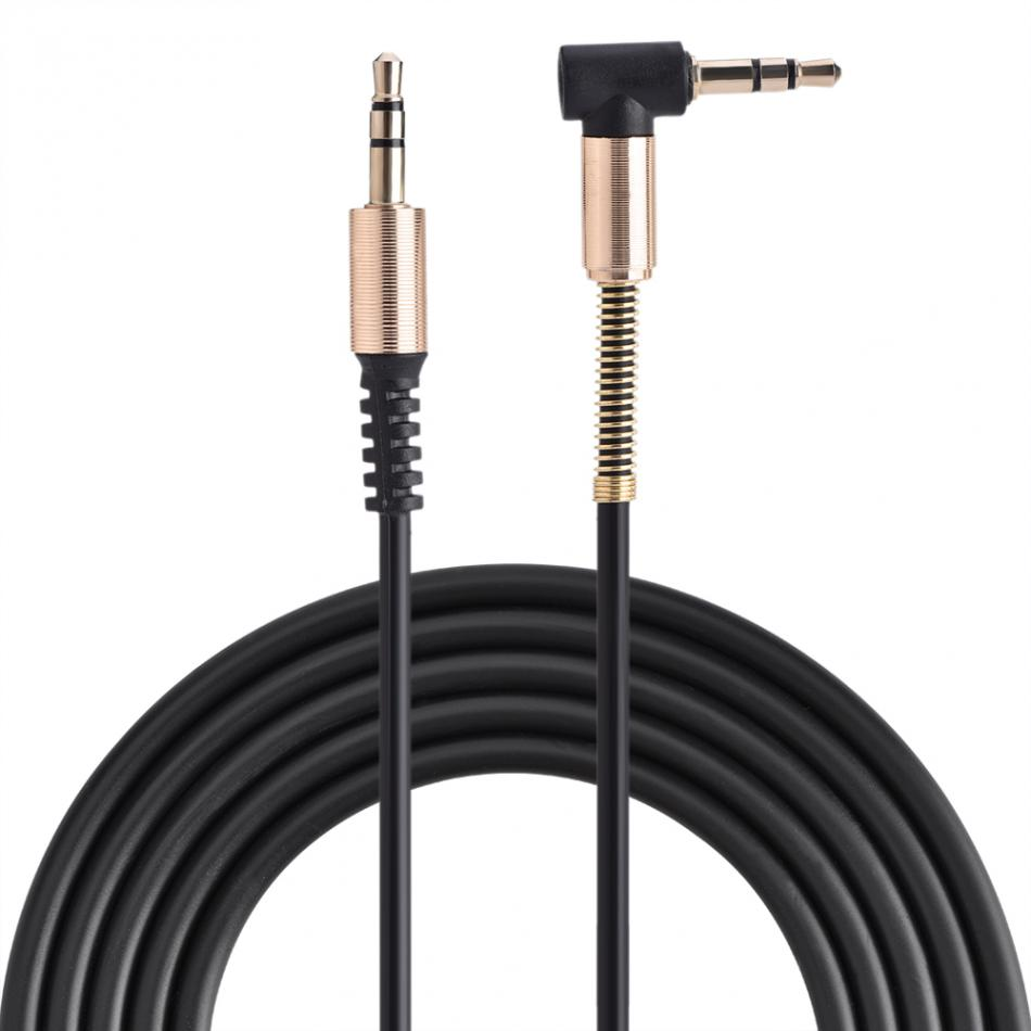 3.5mm Male to Male Spring Aux Cable L-Shaped Retractable Cord for Car Audio MP4